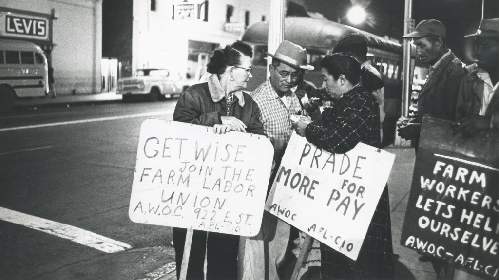 Maria on the AWOC picket line with farmworkers in Fresno 1961. Credit: © 1978 George Ballis/Take Stock